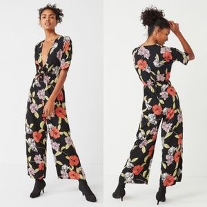 Urban Outfitters deep-v floral jumpsuit